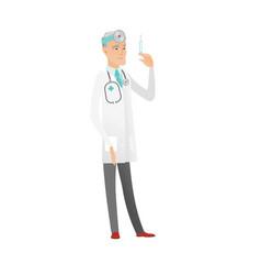 Senior caucasian doctor holding syringe vector