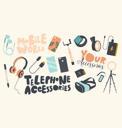 set icons phone accessories theme modern vector image