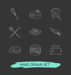 set of dessert icons line style symbols with cake vector image