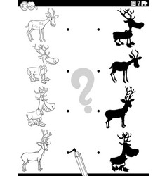 shadow task with cartoon horned animals coloring vector image
