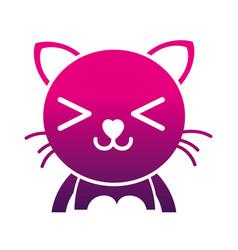 Silhouette happy cat adorable feline animal vector
