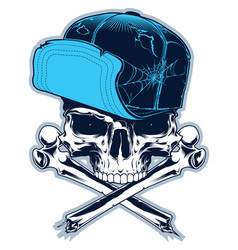 Skull with cross bones and cap vector