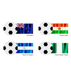 Soccer Ball of New Zealand Niger Nicaragua vector image