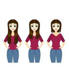 straightening hair differen type concept with girl vector image
