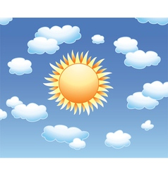 Sun and clouds in sky vector
