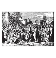 The triumphant entry of jesus into jerusalem vector