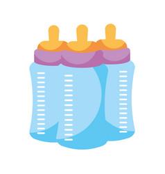 three milk bottles baby on white background vector image