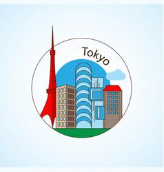 tokyo japan detailed silhouette vector image