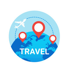 travel icon isolated plane fly over world globe vector image