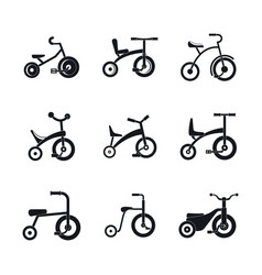Tricycle bicycle bike wheel icons set simple vector