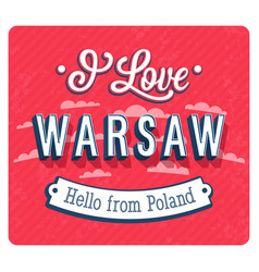 vintage greeting card from warsaw vector image