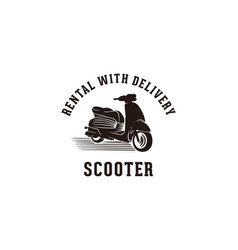 vintage scooter rental fast delivery logo designs vector image