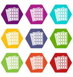 waffle icons set 9 vector image