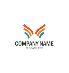 wing ribbon commpany logo vector image