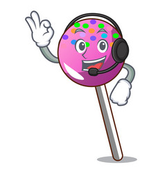With headphone lollipop with sprinkles mascot vector