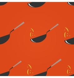 Wok restaurant pan seamless pattern vector
