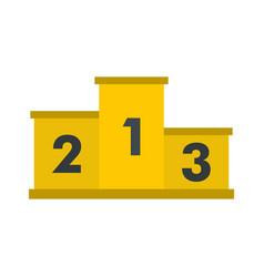 yellow podium winners icon flat style vector image