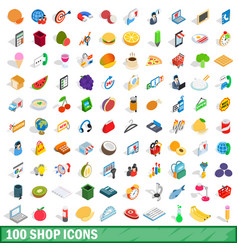 100 shop icons set isometric 3d style vector image