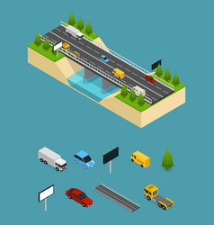 bridge highway over river and elements part vector image vector image