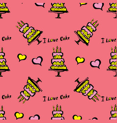 cake and hearts seamless pattern vector image vector image