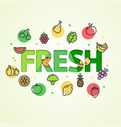cartoon fresh vegetable and fruit concept card vector image vector image