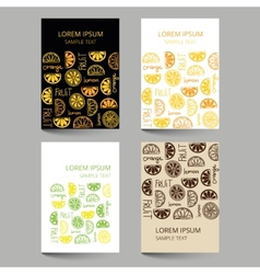 Document template with fruit citrus pattern vector image