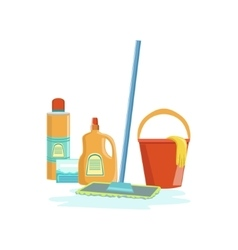Floor washing household equipment set vector