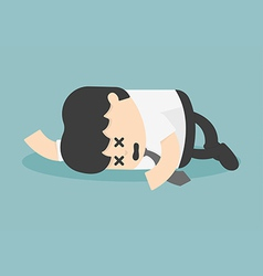 Exhausted and tired businessman sleeping vector image
