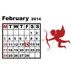 February calendar 2014 vector image