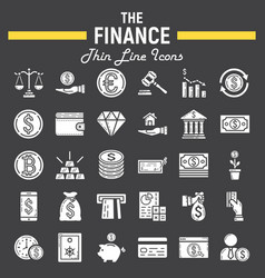 finance glyph icon set business signs collection vector image
