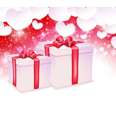Glowing background with two gift box vector image vector image