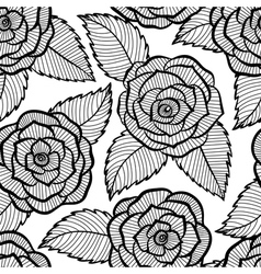 seamless black and white pattern in roses lace vector image vector image