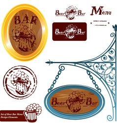 Set of different beer bar menu design elements vector image
