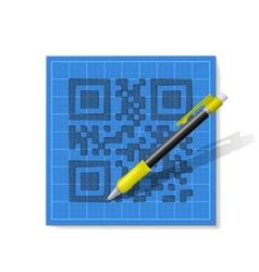 sketch QR-code vector image vector image