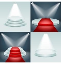 Stage podium set award ceremony illuminated 3d vector image vector image