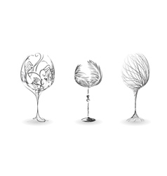 Stylized outline of wine glasses vector image