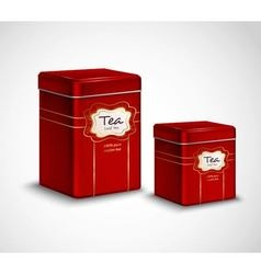 Tea tins red metal containers set vector