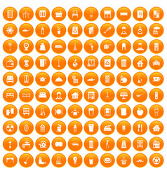 100 cleaning icons set orange vector image vector image