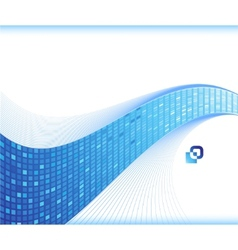 blue wave - business card template vector image vector image