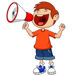 Cartoon boy yelling and shouting into a megaphone vector image