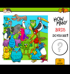 Counting birds educational activity game vector