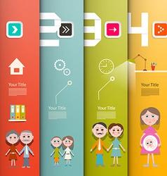 Four Steps Paper Retro UI Flat Design Infographics vector image
