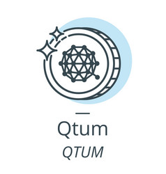 qtum cryptocurrency coin line icon of virtual vector image