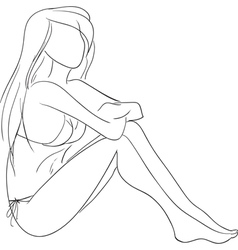 sitting girl vector image vector image