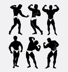 body beautiful contest body building silhouette vector image