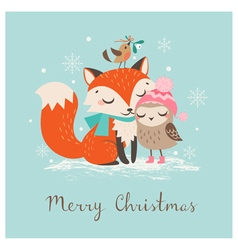 Christmas fox and owl vector image vector image
