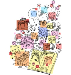 Dessert cooking book sketchy doodle vector