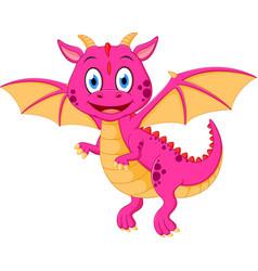 happy baby dragon cartoon vector image