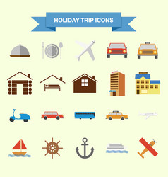holiday trip icons vector image vector image