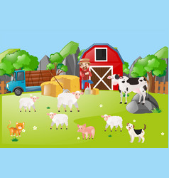 scene with farmer and animals in the field vector image